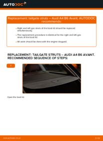 How to carry out replacement: Tailgate Struts on AUDI A4