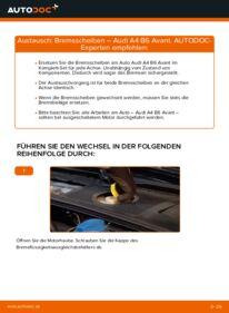 Wie der Wechsel durchführt wird: Bremsscheiben Audi A4 B6 Avant 1.9 TDI 2.5 TDI quattro 1.9 TDI quattro tauschen