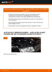 Wie der Wechsel durchführt wird: Bremsscheiben 1.9 TDI Audi A4 B6 Avant tauschen