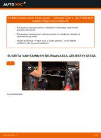 Kuinka vaihtaa Takaluukun Kaasujousi 1.2 Renault Clio 2 -autoon