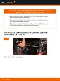Wie der Wechsel durchführt wird: Heckklappendämpfer 1.2 Renault Clio 2 tauschen