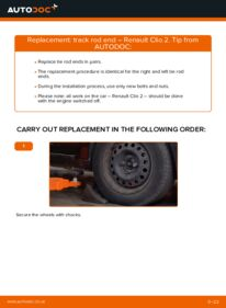How to carry out replacement: Track Rod End on 1.2 Renault Clio 2