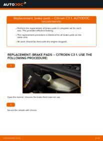 How to carry out replacement: Brake Pads on 1.4 HDi CITROËN C3 I (FC_)