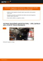 Kaip pakeisti Opel Zafira B A05 bagažinės amortizatorių - keitimo instrukcija