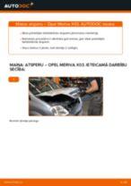 Kā nomainīt un noregulēt Piekare OPEL MERIVA: pdf ceļvedis