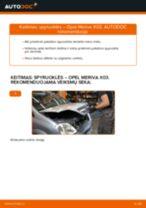 Kaip pakeisti Opel Meriva X03 spyruoklės: priekis - keitimo instrukcija