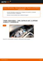 Hogyan cseréljünk első bal jobb Kerékcsapágy készlet OPEL ZAFIRA B (A05) - kézikönyv online