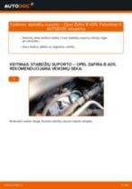 Kaip pakeisti Opel Zafira B A05 stabdžių suporto: priekis - keitimo instrukcija