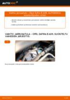 Kuinka vaihtaa jarrusatula eteen Opel Zafira B A05-autoon – vaihto-ohje