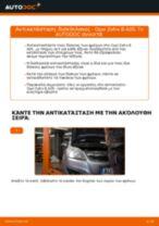 Πώς να αλλάξετε δισκόπλακες πίσω σε Opel Zafira B A05 - Οδηγίες αντικατάστασης