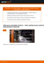 Kako zamenjati avtodel zavorni diski spredaj na avtu Opel Zafira B A05 – vodnik menjave