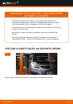 Como mudar discos de travão da parte traseira em Opel Zafira B A05 - guia de substituição