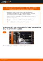 Como mudar discos de travão da parte dianteira em Opel Zafira B A05 - guia de substituição