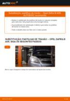 Como mudar pastilhas de travão da parte dianteira em Opel Zafira B A05 - guia de substituição