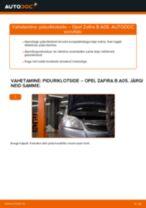 Kuidas vahetada Opel Zafira B A05 esi-piduriklotse – õpetus