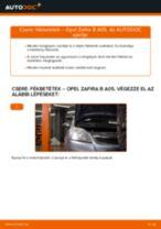 Hogyan cseréje és állítsuk be Fékdob OPEL ZAFIRA: pdf útmutató