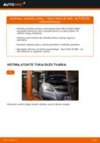 Kaip pakeisti Opel Zafira B A05 stabdžių diskų: galas - keitimo instrukcija