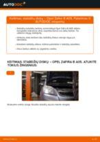 Kaip pakeisti Opel Zafira B A05 stabdžių diskų: priekis - keitimo instrukcija