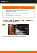 Kaip pakeisti Opel Zafira B A05 stabdžių trinkeliu: priekis - keitimo instrukcija
