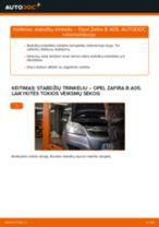 Kaip pakeisti Opel Zafira B A05 stabdžių trinkeliu: galas - keitimo instrukcija