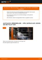 Austauschen von Scheibenbremsbeläge OPEL ZAFIRA: PDF kostenlos
