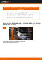 Bremsbeläge hinten selber wechseln: Opel Zafira B A05 - Austauschanleitung