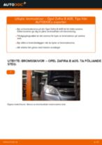 Byta bromsskivor fram på Opel Zafira B A05 – utbytesguide
