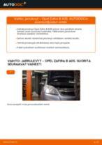 Kuinka vaihtaa jarrulevyt eteen Opel Zafira B A05-autoon – vaihto-ohje