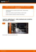 Kuinka vaihtaa jarrupalat eteen Opel Zafira B A05-autoon – vaihto-ohje