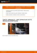 Kuinka vaihtaa jarrupalat taakse Opel Zafira B A05-autoon – vaihto-ohje