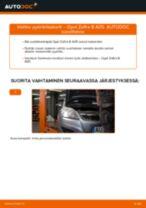 Kuinka vaihtaa pyöränlaakerit taakse Opel Zafira B A05-autoon – vaihto-ohje