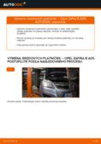 Ako vymeniť zadné brzdové platničky na Opel Zafira B A05 – návod na výmenu