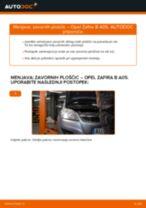 Kako zamenjati avtodel zavorne ploščice zadaj na avtu Opel Zafira B A05 – vodnik menjave