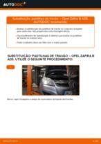 Como mudar pastilhas de travão da parte traseira em Opel Zafira B A05 - guia de substituição