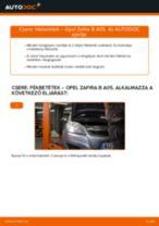 Hogyan cseréje és állítsuk be Törlőkar Ablaktörlő OPEL ZAFIRA: pdf útmutató