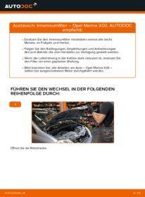 Wie der Wechsel durchführt wird: Innenraumfilter 1.7 CDTI (E75) Opel Meriva x03 tauschen