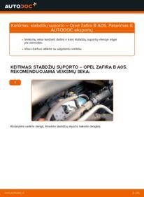 Kaip atlikti keitimą: 1.9 CDTI (M75) Zafira b a05 Stabdžių apkaba