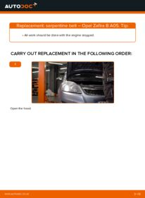 How to carry out replacement: Poly V-Belt on 1.9 CDTI (M75) Opel Zafira B