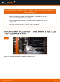 How to carry out replacement: Brake Pads on 1.9 CDTI (M75) Zafira b a05