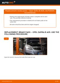 How to carry out replacement: Brake Pads on 1.9 CDTI (M75) Opel Zafira B