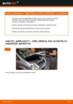 Kuinka vaihtaa jarrulevyt taakse Opel Meriva X03-autoon – vaihto-ohje