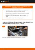 Como mudar discos de travão da parte traseira em Opel Meriva X03 - guia de substituição