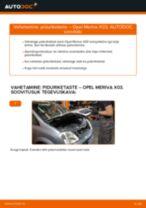 Kuidas vahetada Opel Meriva X03 taga-piduriketaste – õpetus