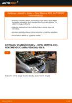 Kaip pakeisti Opel Meriva X03 stabdžių diskų: galas - keitimo instrukcija