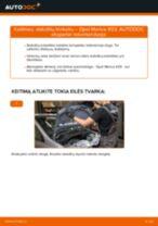 Kaip pakeisti Opel Meriva X03 stabdžių trinkeliu: galas - keitimo instrukcija