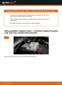 How to carry out replacement: Brake Pads on 2.0 HDi Citroen Xsara Picasso