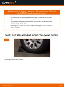 How to carry out replacement: Wheel Bearing on 2.0 HDi Citroen Xsara Picasso