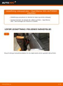 Hvordan man udfører udskiftning af: Sidespejl Glas på 1.7 CDTI (E75) Opel Meriva x03