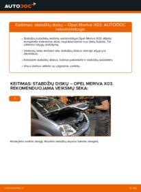 Kaip atlikti keitimą: 1.7 CDTI (E75) Opel Meriva x03 Stabdžių diskas