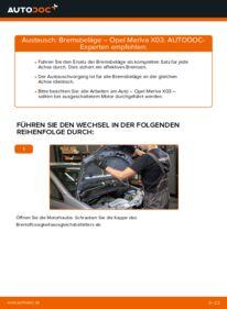 Wie der Wechsel durchführt wird: Bremsbeläge 1.7 CDTI (E75) Opel Meriva x03 tauschen